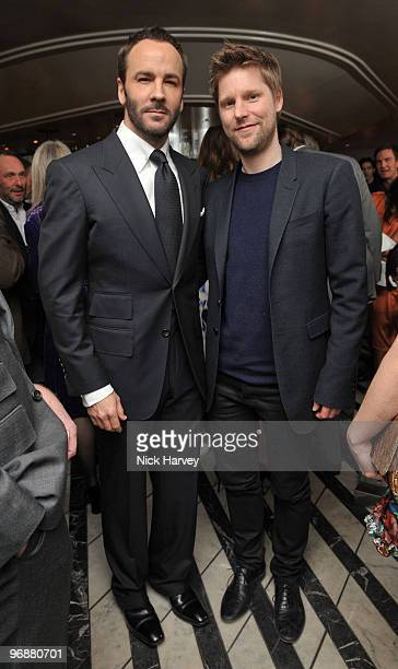 Tom Ford and Christopher Bailey attends private dinner hosted by Vogue Editor Alexandra Shulman and Nick Jones on February 19 2010 in London England