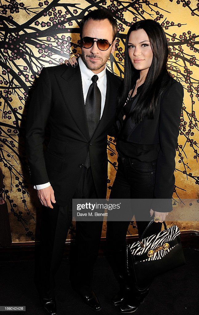 Tom Ford (L) and Jessie J attend a private dinner hosted by Tom Ford to celebrate his runway show during London Collections: MEN AW13 at Loulou's on January 9, 2013 in London, England.