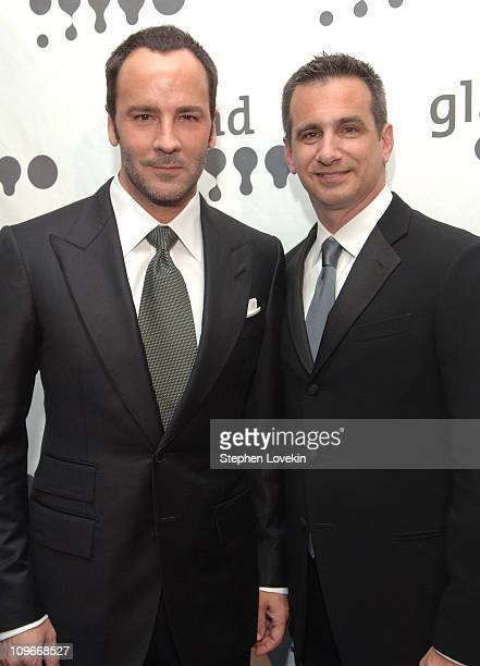 Tom Ford and Neil Guiliano, President of GLAAD during 18th Annual GLAAD Media Awards New York - Cocktails at Marriott Marquis in New York City, New...