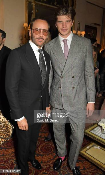 Tom Ford and Toby HuntingtonWhiteley attend the Tom Ford Beauty Beau Du Jour event at Marks Club on January 7 2020 in London England