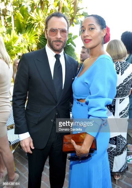 Tom Ford and Tracee Ellis Ross attend CFDA/Vogue Fashion Fund Show and Tea at Chateau Marmont at Chateau Marmont on October 25 2017 in Los Angeles...