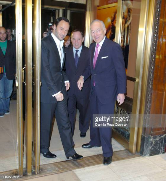 Tom Ford Fred Wilson and Leonard Lauder during Tom Ford Estee Lauder SAKS Launch at SAKS Fifth Avenue in New York City New York United States