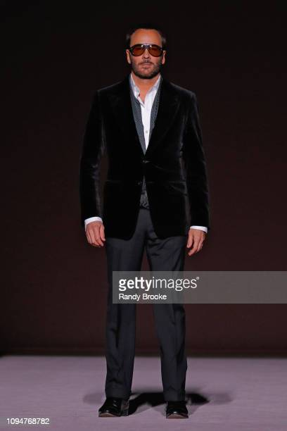 Tom Ford greets the audience after his Tom Ford Runway show February 2019 during New York Fashion Week at Park Avenue Armory on February 6 2019 in...