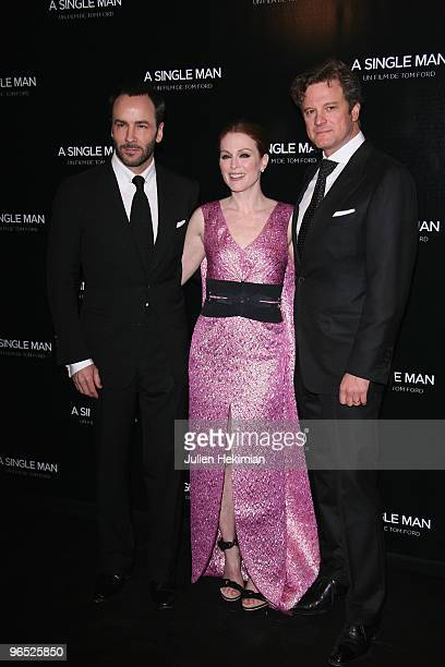 Tom Ford, Julianne Moore and Colin Firth attend 'A Single Man' Paris premiere at Cinema UGC Normandie on February 9, 2010 in Paris, France.
