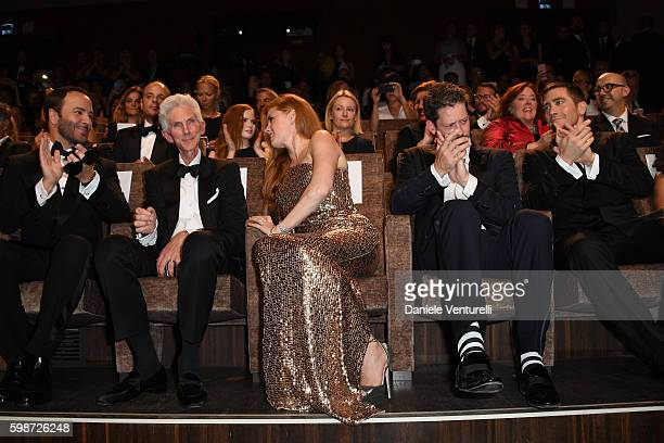 Tom Ford Richard Buckley Amy Adams Darren Le Gallo and Jake Gyllenhaal attend the premiere of 'Nocturnal Animals' during the 73rd Venice Film...