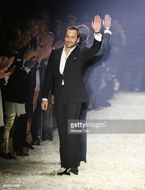 Tom Ford walks the runway during his Autumn/Winter 2015 Womenswear Collection presentation held at Milk Studios on February 20 2015 in Los Angeles...