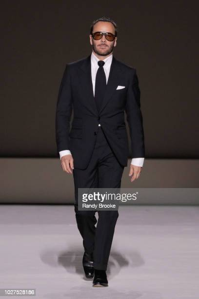 Tom Ford walks the runway to greet the audience at the end of his Tom Ford fashion show September 2018 at New York Fashion Week at Park Avenue Armory...