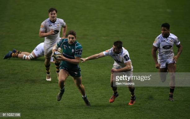 Tom Fowlie of London Irish makes a break during the AngloWelsh Cup match between London Irish and Wasps at Madejski Stadium on January 27 2018 in...