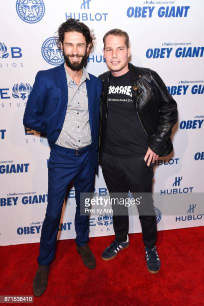 Tom Franco and Shepard Fairey attend Photo Op For Hulu's Obey Giant at The Theatre at Ace Hotel on November 7 2017 in Los Angeles California