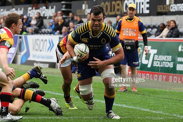 Tom Franklin of Otago scores a try during the round six ITM Cup match between Otago and Waikato at Forsyth Barr Stadium on September 21 2014 in...