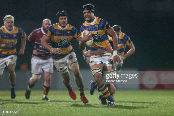 Tom Franklin of the Bay of Plenty Steamers is tackled during the round 10 Mitre 10 Cup match between Southland and Bay of Plenty at Rugby Park on...