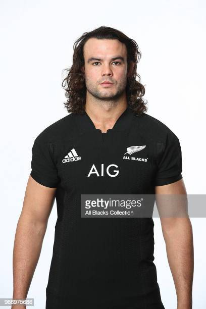 Tom Franklin poses during a New Zealand All Blacks headshots session on June 3 2018 in Auckland New Zealand