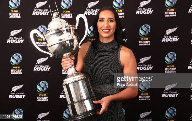 Tom French Memorial Maori Player of the Year winner Sarah Hirini poses for a photograph during the New Zealand Rugby Awards at the Sky City...