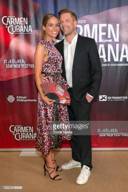 Tom Gaebel and his girlfriend Saskia Runge attend the 'Carmen la Cubana' Musical premiere on July 19 2018 in Cologne Germany Kristina Yantsen