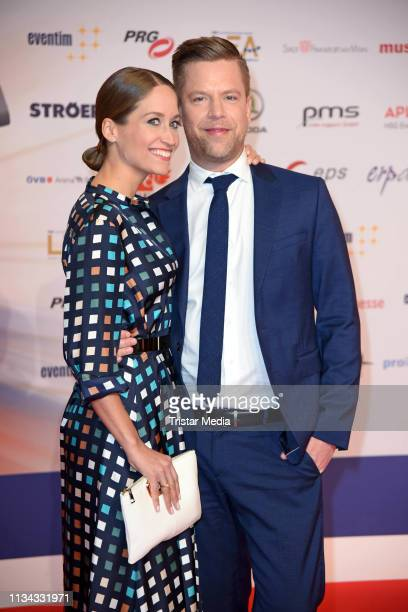 Tom Gaebel and his wife Saskia Runge attend the PRG LEA Live Entertainment Award 2019 at Festhalle on April 1 2019 in Frankfurt am Main Germany