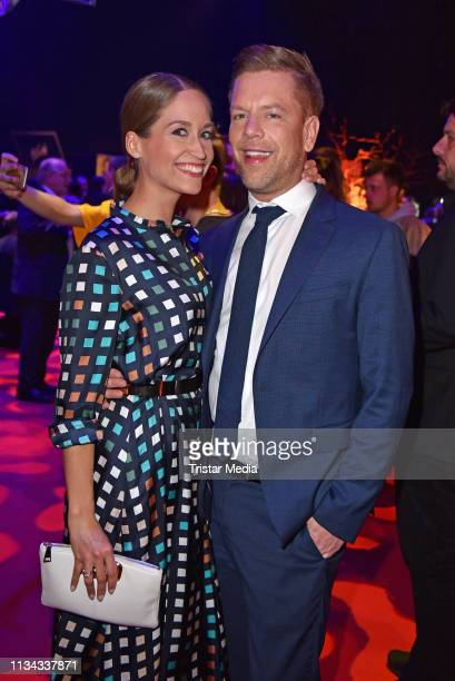 Tom Gaebel and Saskia Runge attend the PRG LEA Live Entertainment Award 2019 at Festhalle on April 1 2019 in Frankfurt am Main Germany