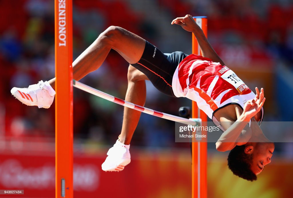 Tom Gale of England competes in the Men's High Jump qualification during the Athletics on day five of the Gold Coast 2018 Commonwealth Games at Carrara Stadium on April 9, 2018 on the Gold Coast, Australia.