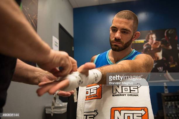 Tom Gallicchio gets his hands wrapped before facing Marcin Wrzosek during the filming of The Ultimate Fighter: Team McGregor vs Team Faber at the UFC...