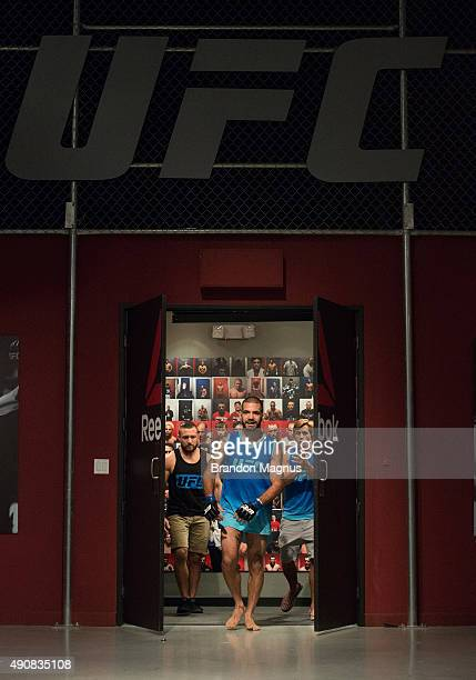 Tom Gallicchio prepares to enter the Octagon before facing Marcin Wrzosek during the filming of The Ultimate Fighter: Team McGregor vs Team Faber at...