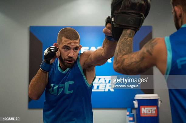 Tom Gallicchio warms up before facing Marcin Wrzosek during the filming of The Ultimate Fighter: Team McGregor vs Team Faber at the UFC TUF Gym on...