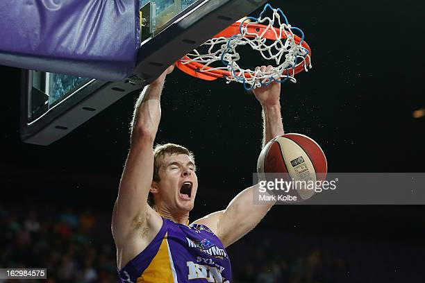Tom Garlepp of the Kings dunks during the round 21 NBL match between the Sydney Kings and the Townsville Crocodiles at Sydney Entertainment Centre on...