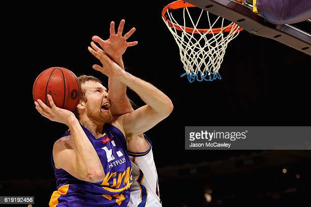 Tom Garlepp of the Kings shoots during the round four NBL match between the Sydney Kings and the Brisbane Bullets at Qudos Bank Arena on October 30...