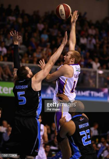 Tom Garlepp of the Kings shoots under pressure from Will Hudson of the Breakers during the round five NBL match between the New Zealand Breakers and...