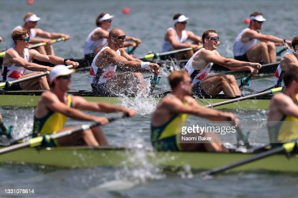Tom George, Mohamed Sbihi, Charles Elwes and Oliver Wynne-Griffith of Team Great Britain compete against Teams New Zealand and Australia during the...