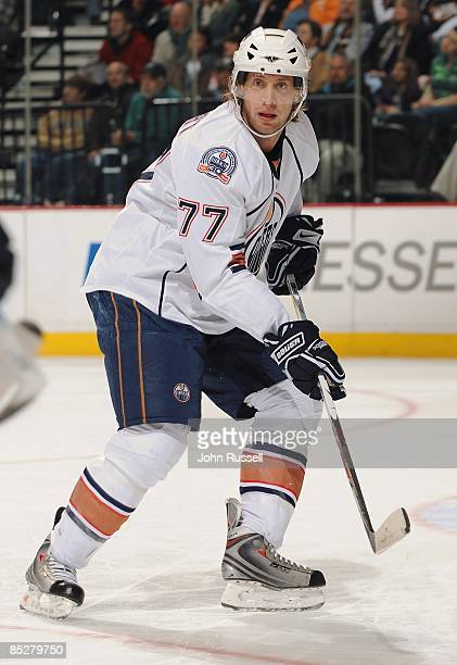 Tom Gilbert of the Edmonton Oilers skates against the Nashville Predators at the Sommet Center on March 3 2009 in Nashville Tennessee