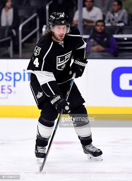 Tom Gilbert of the Los Angeles Kings skates during a preseason game against the Anaheim Ducks at Staples Center on September 28 2016 in Los Angeles...
