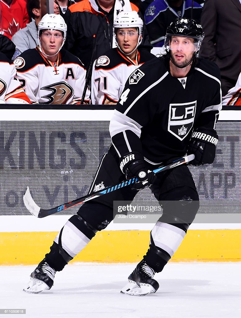 Tom Gilbert #14 of the Los Angeles Kings skates during the game against the Anaheim Ducks on September 28, 2016 at STAPLES Center in Los Angeles, California.