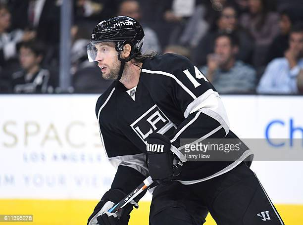 Tom Gilbert of the Los Angeles Kings skates up ice during a preseason game against the Anaheim Ducks at Staples Center on September 28 2016 in Los...