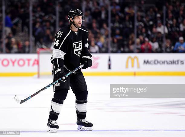 Tom Gilbert of the Los Angeles Kings waits at the point during a preseason game against the Anaheim Ducks at Staples Center on September 28 2016 in...