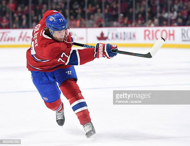 Tom Gilbert of the Montreal Canadiens fires a slap shot against the Columbus Blue Jackets in the NHL game at the Bell Centre on December 1 2015 in...