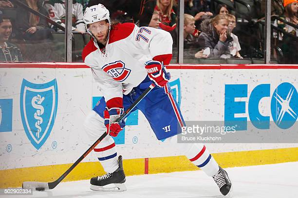 Tom Gilbert of the Montreal Canadiens handles the puck against the Minnesota Wild during the game on December 22 2015 at the Xcel Energy Center in St...