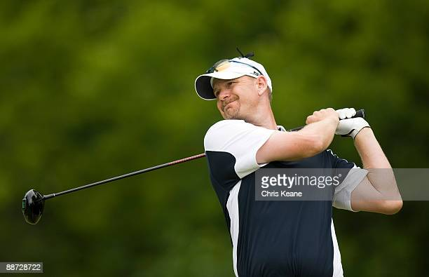 Tom Gillis watches his drive on the sixth hole during the final round of the Nationwide Tour Players Cup at Pete Dye Golf Club on June 28, 2009 in...