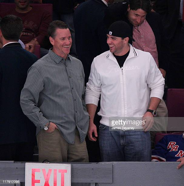Tom Glavine and David Wright during Celebrities Attend Philadelphia Flyers vs New York Rangers Game October 10 2006 at Madison Square Garden in New...
