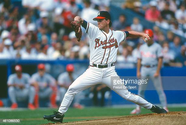 Tom Glavine of the Atlanta Braves pitches against the Philadelphia Phillies during an Major League Baseball game circa 1993 at AtlantaFulton County...