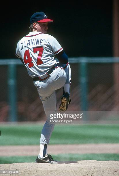 Tom Glavine of the Atlanta Braves pitches against the San Francisco Giants during an Major League Baseball game circa 1990 at Candlestick Park in San...