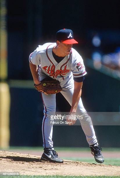 Tom Glavine of the Atlanta Braves pitches against the San Francisco Giants during an Major League Baseball game circa 1997 at Candlestick Park in San...