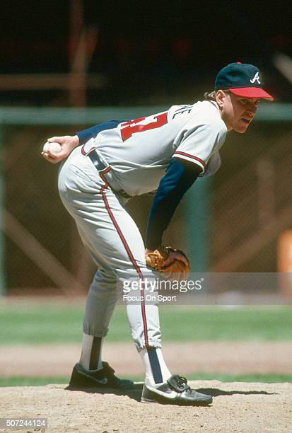 Tom Glavine of the Atlanta Braves pitches against the San Francisco Giants during a Major League Baseball game circa 1990 at Candlestick Park in San...
