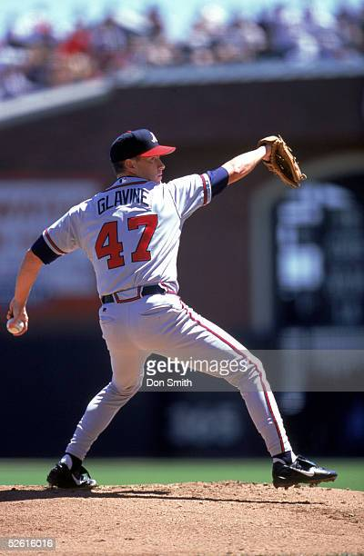 Tom Glavine of the Atlanta Braves pitches during a 2000 season game at Pac Bell Park in San Francisco California Tom Glavine played for the Atlanta...