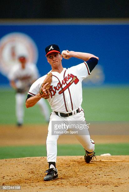 Tom Glavine of the Atlanta Braves pitches during a Major League Baseball game circa 1990 at AtlantaFulton County Stadium in Atlanta Georgia Glavine...