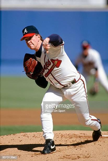 Tom Glavine of the Atlanta Braves pitches during a Major League Baseball game circa 1995 at AtlantaFulton County Stadium in Atlanta Georgia Glavine...