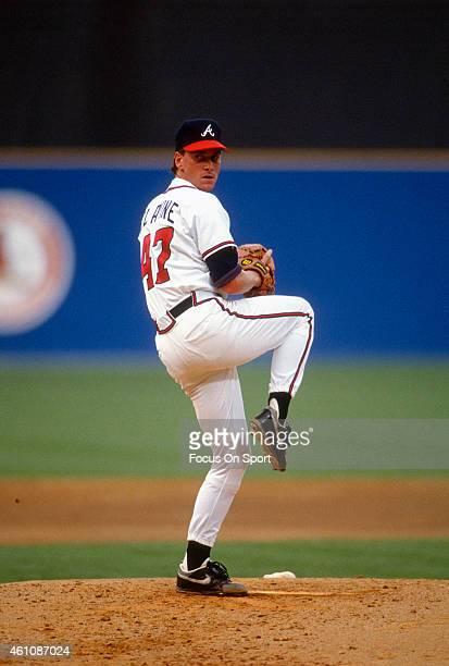 Tom Glavine of the Atlanta Braves pitches during an Major League Baseball game circa 1990 at AtlantaFulton County Stadium in Atlanta Georgia Glavine...