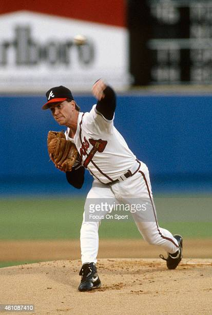 Tom Glavine of the Atlanta Braves pitches during an Major League Baseball game circa 1993 at AtlantaFulton County Stadium in Atlanta Georgia Glavine...