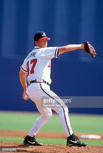 Tom Glavine of the Atlanta Braves pitches during an Major League Baseball spring training game circa 1997 at West Palm Beach Municipal Stadium in...