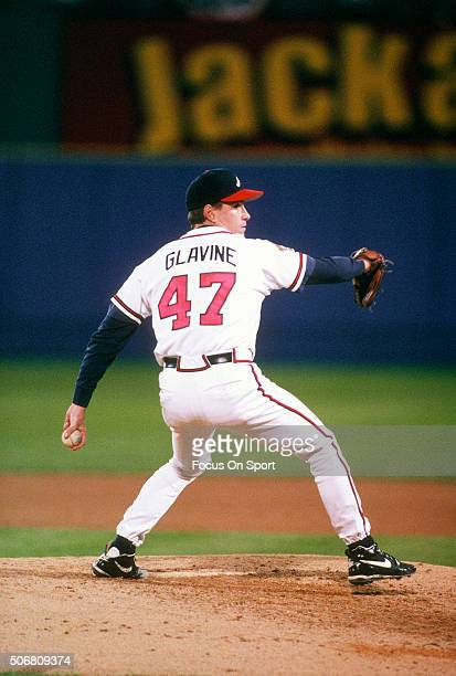 Tom Glavine of the Atlanta Braves pitches during an Major League Baseball game circa 1997 at Turner Field in Atlanta Georgia Glavine played for the...