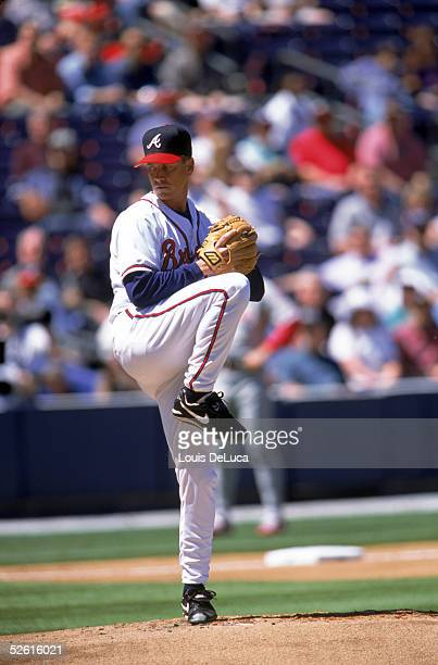 Tom Glavine of the Atlanta Braves pitches during the season game at Turner Field in Atlanta Georgia on April 1 2002 Tom Glavine played for the...