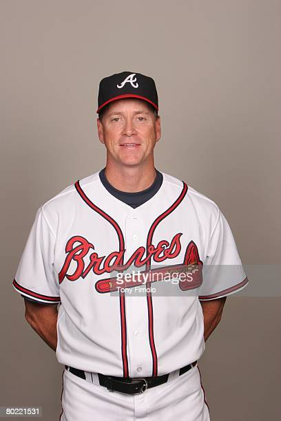 Tom Glavine of the Atlanta Braves poses for a portrait during photo day at Champion Stadium Stadium at Disney's Wide World of Sports on February 25...